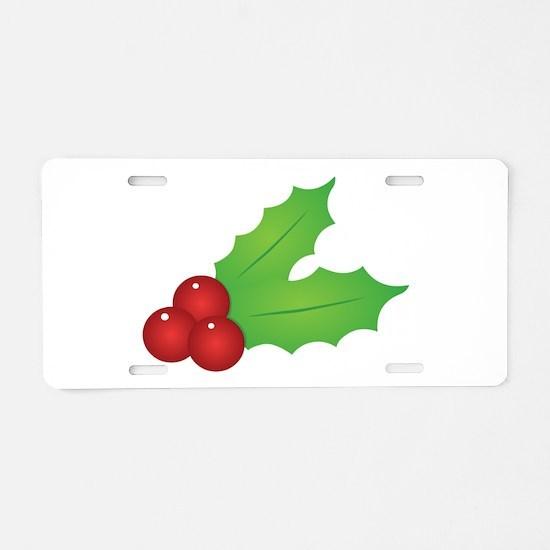 Christmas Holly Aluminum License Plate