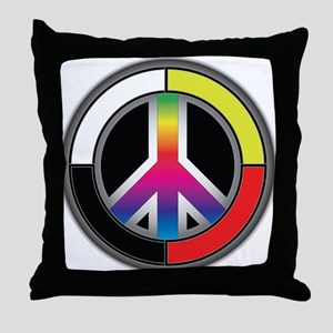 Peace Rainbow Circle Throw Pillow