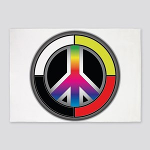 Peace Rainbow Circle 5'x7'Area Rug