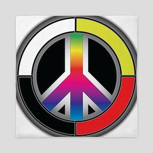 Peace Rainbow Circle Queen Duvet