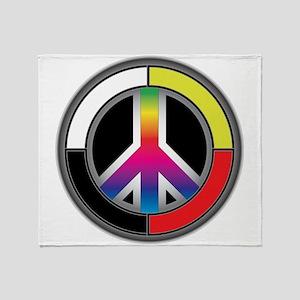 Peace Rainbow Circle Throw Blanket