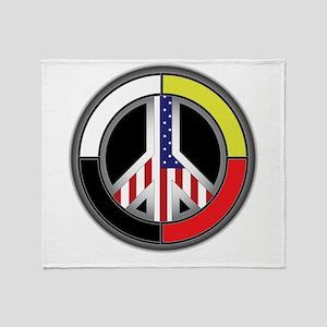 Peace America Circle Throw Blanket