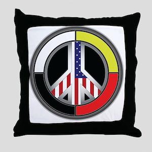 Peace America Circle Throw Pillow