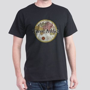 Travel Addict 'Style 2' Black T-Shirt T-Shirt