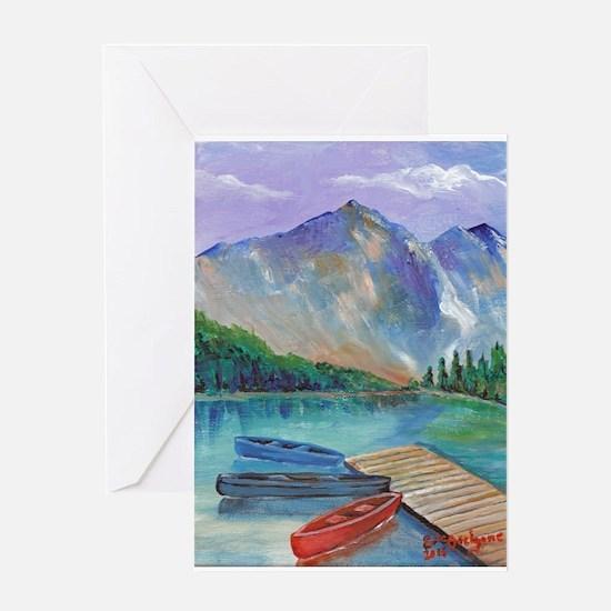 Lake Boat Greeting Cards
