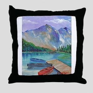 Lake Boat Throw Pillow