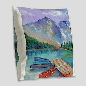 Lake Boat Burlap Throw Pillow