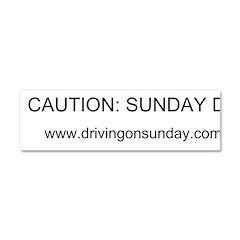 Caution: Sunday Driver (white) Car Magnet 10 X 3