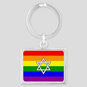 Rainbow Pride Flag with Jewish Star Keychains