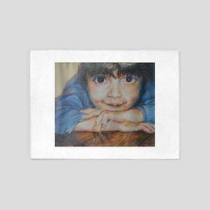 Pensive - Portrait Of A Boy 5'x7'Area Rug