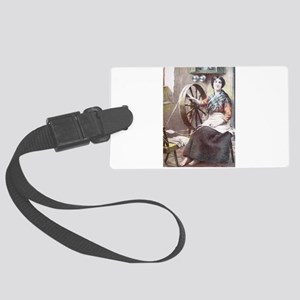 Irish Woman at her Spinning Whee Large Luggage Tag