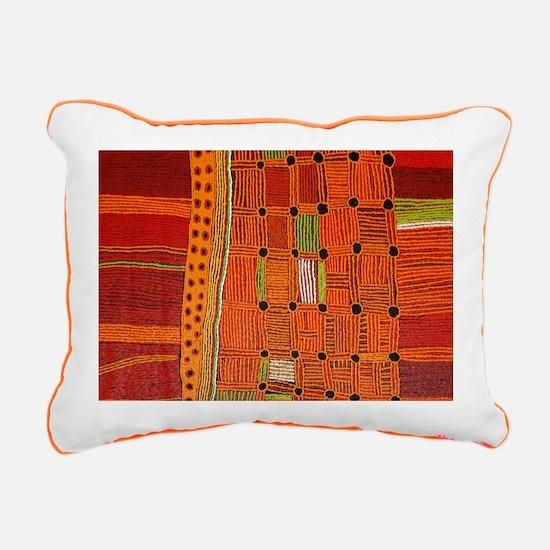 Australian Aboriginal Art in Orange Red Rectangula