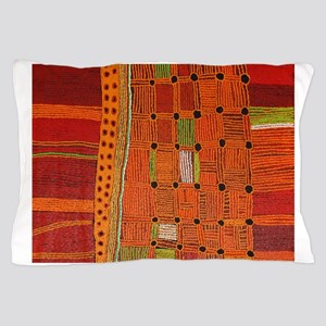 Australian Aboriginal Art in Orange Red Pillow Cas