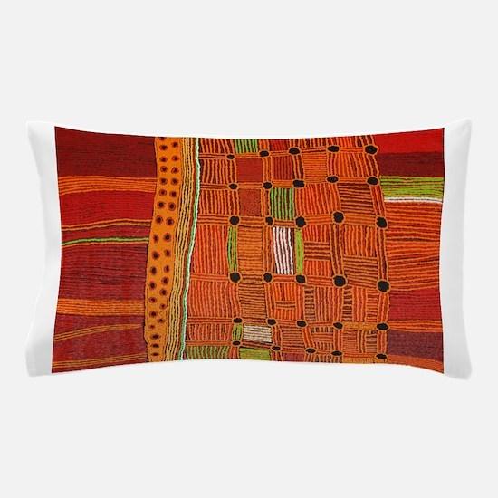 Australian Aboriginal Art in Orange Red Pillow Cas