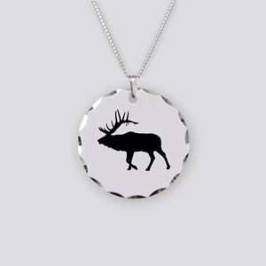 Bull Elk Silhouette Necklace Circle Charm