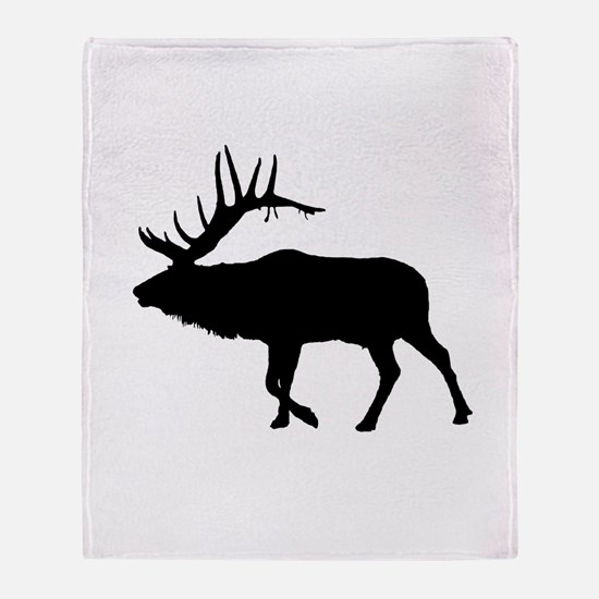 Bull Elk Silhouette Throw Blanket