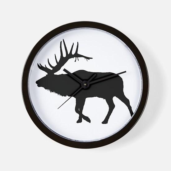 Bull Elk Silhouette Wall Clock