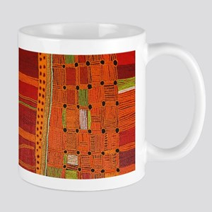 Australian Aboriginal Art in Orange Red Mugs