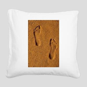 sand footprints, Square Canvas Pillow