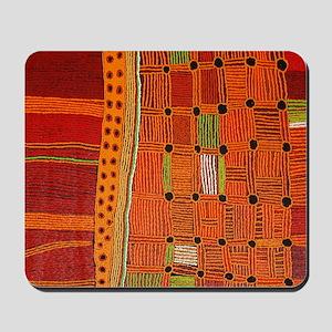 Australian Aboriginal Art in Orange Red Mousepad