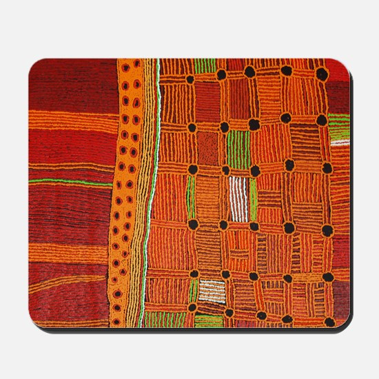 Australian Aboriginal Art in Orange Red Mousepad