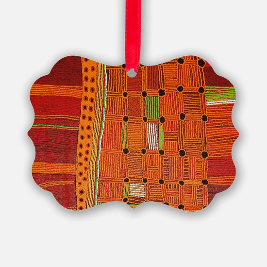 Australian Aboriginal Art in Orange Red Ornament