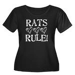 Rats Rule Rat Face Wmn's Plus Size Scoop Dark Tee
