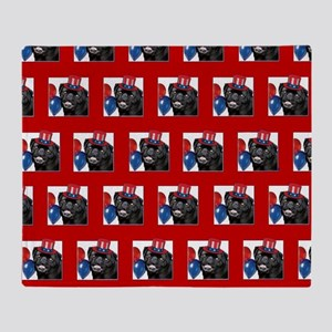 Patriotic pug dog Throw Blanket