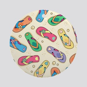 Colorful Flip Flops Round Ornament