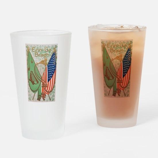 Irish American Flags Erin Go Bragh Drinking Glass