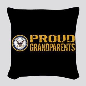 U.S. Navy: Proud Grandparents Woven Throw Pillow