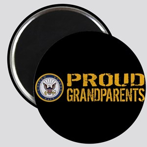 U.S. Navy: Proud Grandparents (Black) Magnet