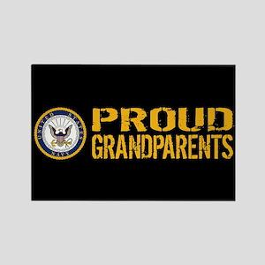 U.S. Navy: Proud Grandparents (Bl Rectangle Magnet