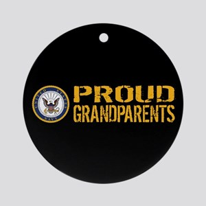 U.S. Navy: Proud Grandparents (Blac Round Ornament