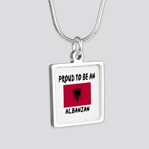 Proud To Be Albanian Silver Square Necklace