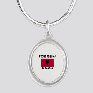 Proud To Be Albanian Silver Oval Necklace