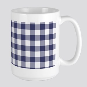 Navy Blue Gingham Checked Pattern Mugs