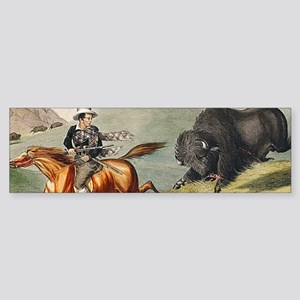 Western Bison Hunt Cowboy Bumper Sticker
