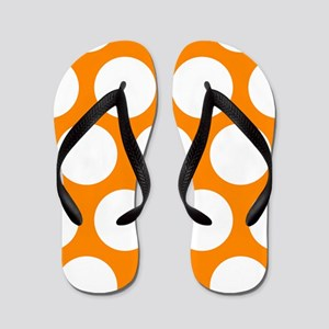 Orange: Polka Dots Pattern (Large) Flip Flops