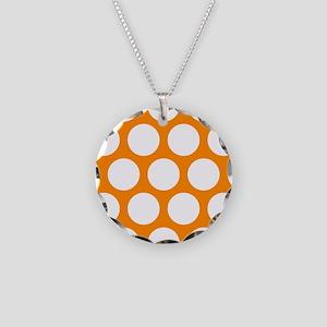 Orange: Polka Dots Pattern ( Necklace Circle Charm