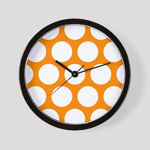 Orange: Polka Dots Pattern (Large) Wall Clock