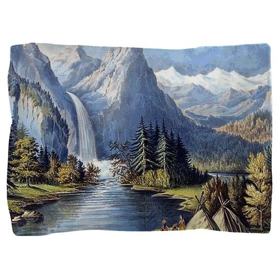 vintage native american landscape Pillow Sham