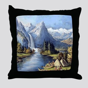 vintage native american landscape Throw Pillow