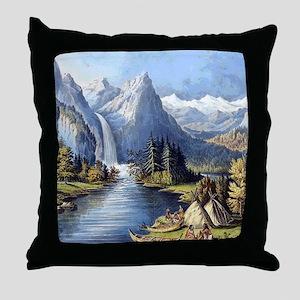 vintage native american landscape Throw Pillow