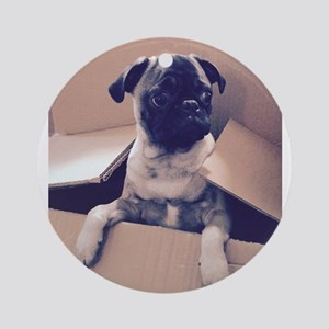 Pugsley The Pug Puppy In A Box Round Ornament