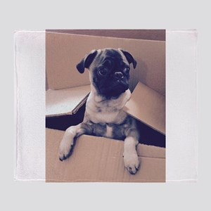 Pugsley The Pug Puppy In A Box Throw Blanket