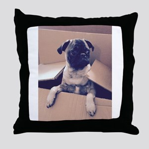 Pugsley The Pug Puppy In A Box Throw Pillow