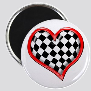 Checkered Heart Red Magnet
