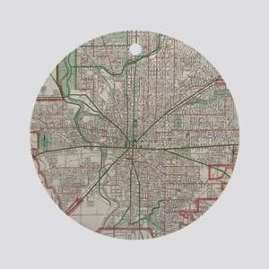 Vintage Map of Indianapolis Indiana Round Ornament