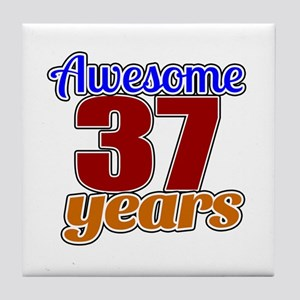 Awesome 37 Years Birthday Tile Coaster